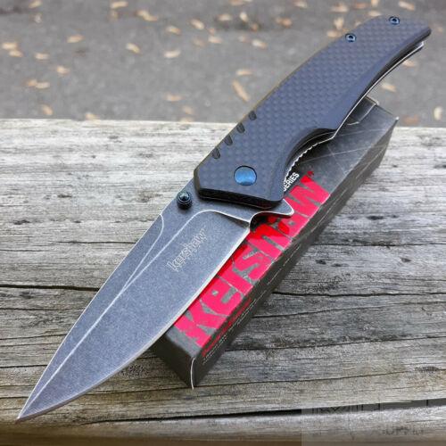 """Kershaw Halogen Folding Knife 3.25"""" 8Cr13MoV Steel Blade Carbon Fiber/G10 Handle"""