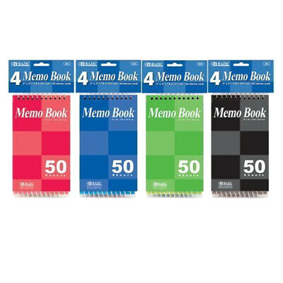 Memo Book Bazic 50 Sheets 3 X 5 Top Bound Spiral Memo Books Pack Of 4 Colors