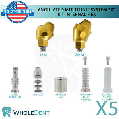 5x Angulated Abutment Multi Unit System 30 Kit Titanium Dental Implant Int Hex