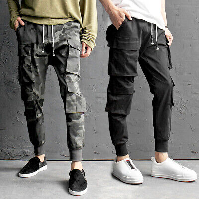 Men's Double Big Cargo Pocket Elastic Waistband Jogger Pants 411, GENTLERSHOP Double Pocket Cargo