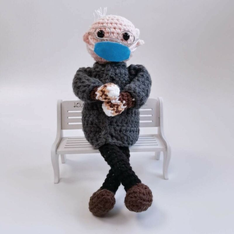 Crochet Bernie Sanders Mittens doll Inauguration - Handmade - Bench Included