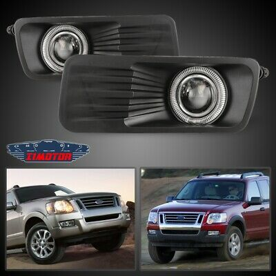 Fit Ford Explorer Sport Trac 07-10 Clear Lens Pair Fog Light Halo Projector Sport Trac Fog Driving Light