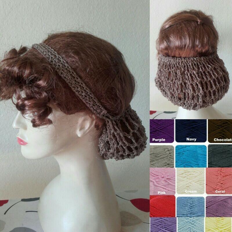 Vintage style 1940s handmade hair snood wartime ww2 cotton crochet