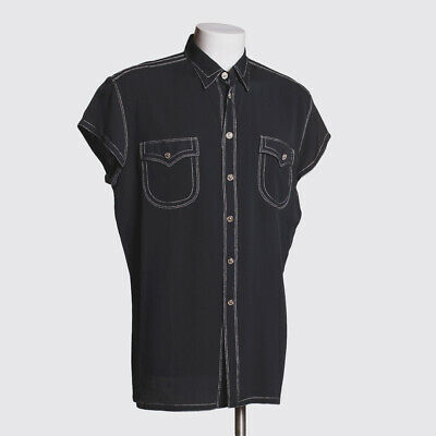 Gianni Versace Vintage Shirt Size XL Men Black Silk Blend with Crystals
