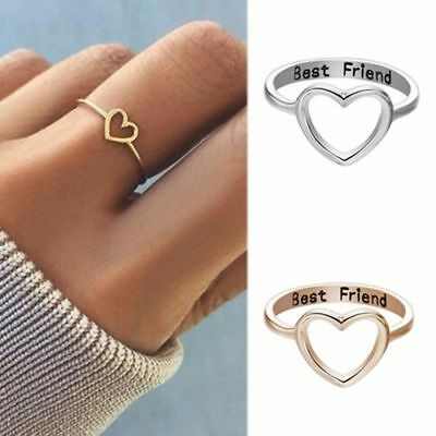 Gold Silver Love Heart Ring Best Friend Friendship Rings BFF Women Jewelry