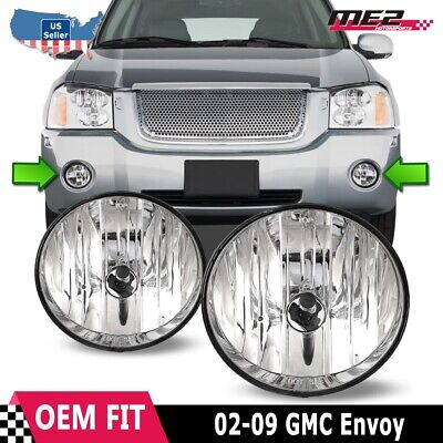 For GMC Envoy 02-09 Factory Bumper Replacement Fit Fog Lights DOT Clear Lens 09 Factory Replacement