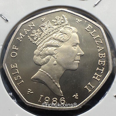 1986 IOM Xmas 50p Diamond Finish Coin with BB die marks