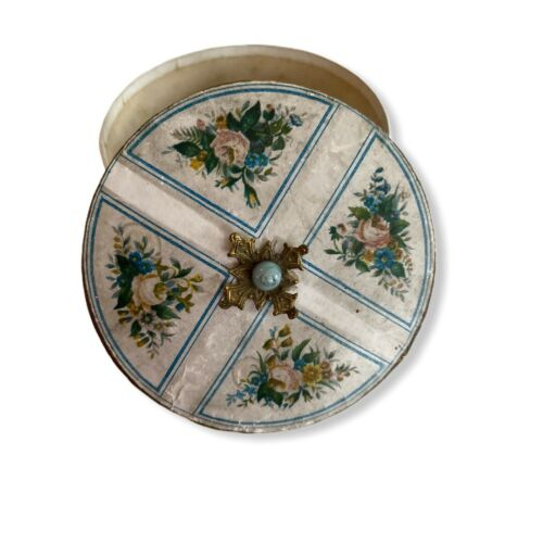 Antique Box Round Jeweled Top Vanity Powder Edwardian Rosebuds