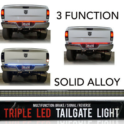 60 in LED Tailgate Bar Sequential Turn Signal Amber Brake Light Rear RIGID SOLID White Led Tailgate