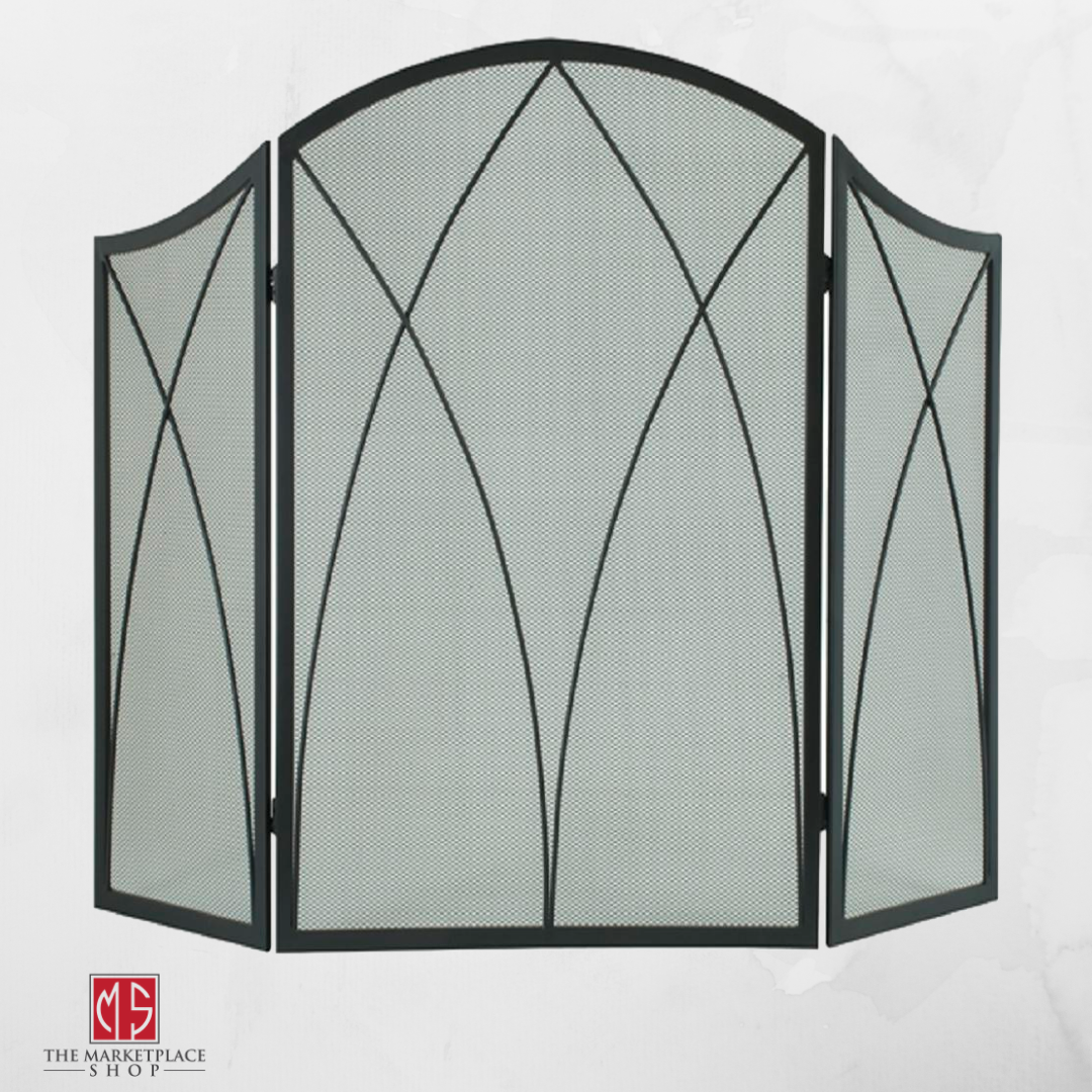 Fireplace Screen Protector 3 Panel Black Steel Arched Victor