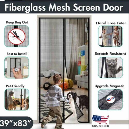 "Magnetic Magic Screen Door Mesh Curtain Durable Hand Free Mosquito Net 39""x82"""