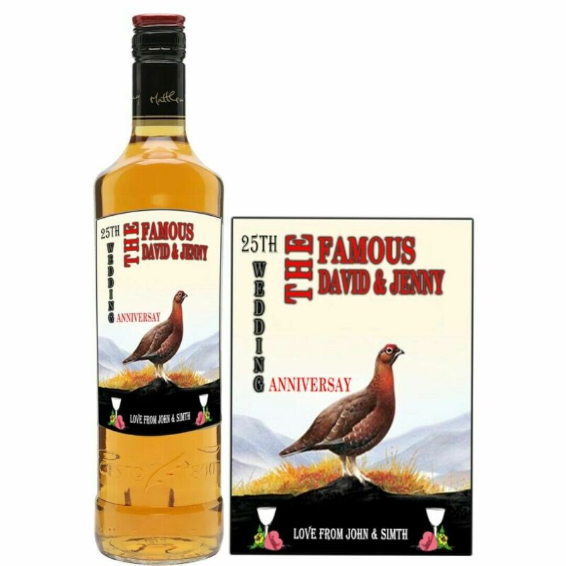 personalised Famous Grouse whisky bottle label birthday any occasion BL124