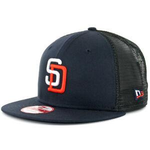 83e940498b2 New Era 950 San Diego Padres Tony Gwynn 4 Trucker Snapback Hat Navy Mens  MLB Cap