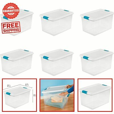 Plastic Storage Containers With Lids (Plastic Storage Bins With Lids Large Tote Latching Stackable Clear 6 Pack 64)