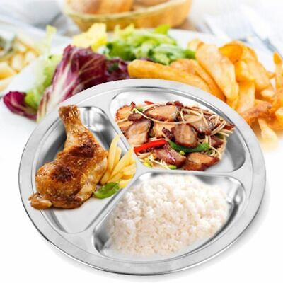 - 3 Sections Dinner plate Round Divided Dish 22cm 26cm Snack Set Stainless Steel