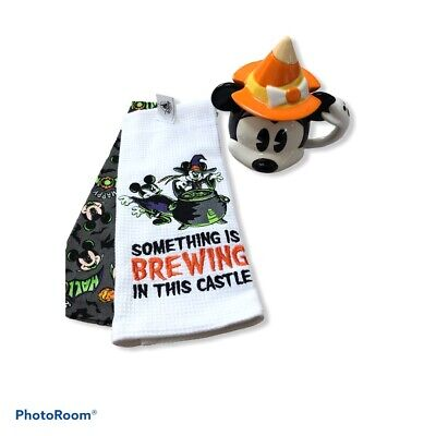 New Mickey Disney Halloween Ceramic Cup With Lid And Kitchen Towel Chip On Mug