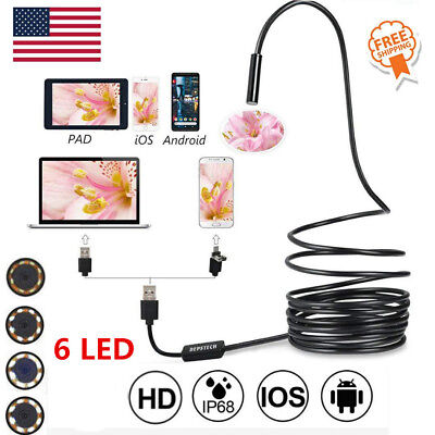 5.5mm Usb Endoscope Borescope Waterproof Snake Camera For Mac Os Android Windows