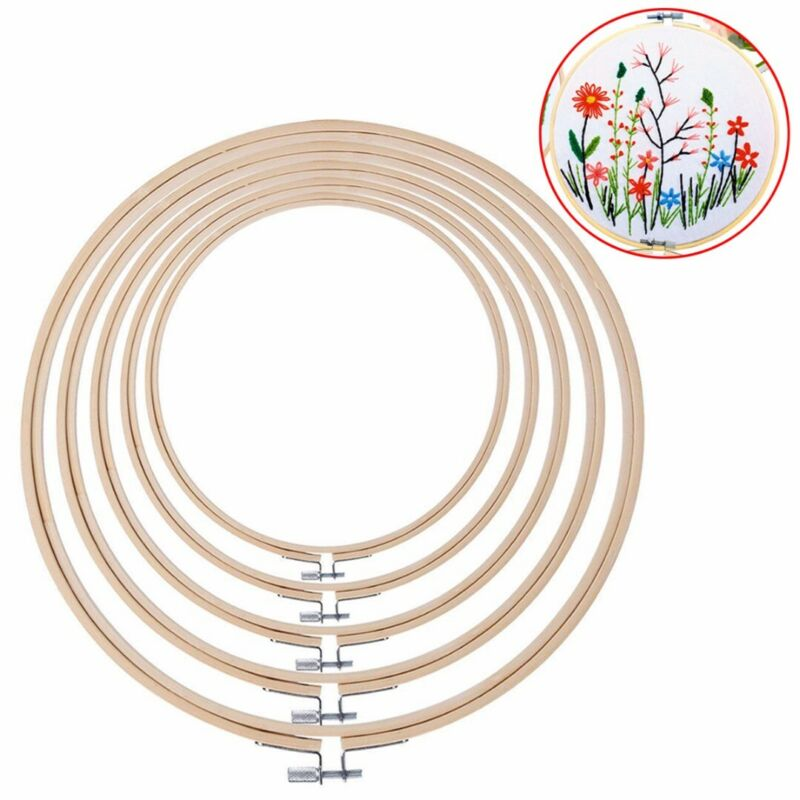 5Pc Embroidery Hoops Round Bamboo Cross Stitch Hoop Ring Qui