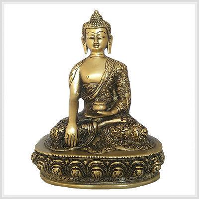 Erdender Buddha 23cm ca.2,6 KG Messing Figur Nepal Tibet Indien Buddhismus Mudra