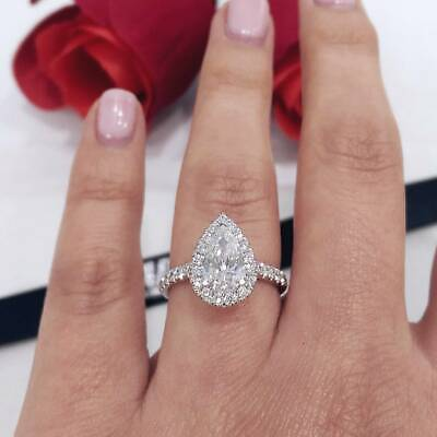 1.80 ct. Pear Cut Diamond Tear Drop Halo Pave Engagement Ring GIA H, VS2 18KWG 1