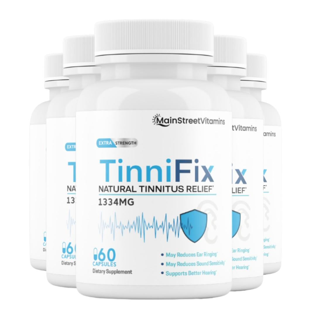 5 Bottles TinniFix Natural Tinnitus Relief Formula Ear Ringing 60 Capsules
