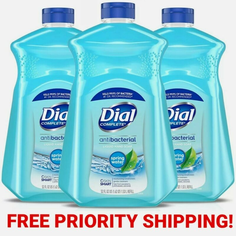 3 Dial Liquid Hand Soap Refill Spring Water 52oz x3, Free Priority Shipping!