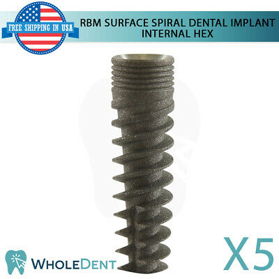 5x Dental Implant Spiral Internal Hex System Titanium Sterile Rbm Surface