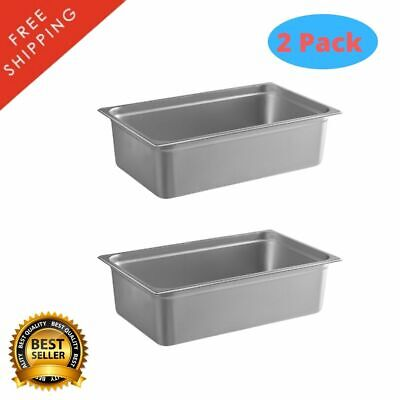 2 Pack 6 Deep Full Size Anti Jam Stainless Steel Steam Table Hotel Pan Tray