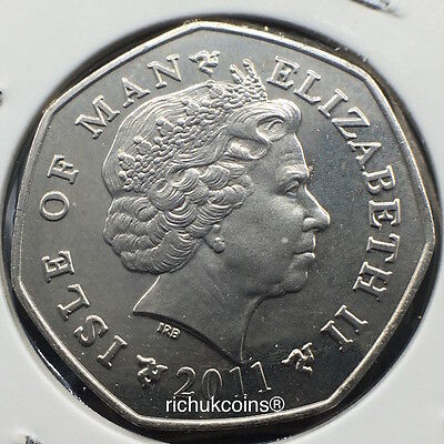 2011 IOM T.T. Currency 50p Coin with AA die letters