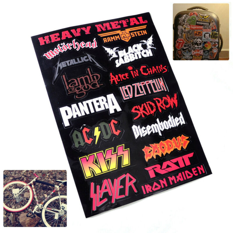 Home Decoration - Heavy Metal Metallic Band Logo Decal Rock Music Sticker For Wall Laptop Case