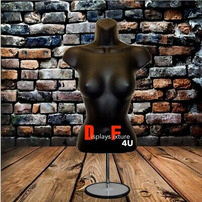 Mannequin For Jewelry Or Clothing Displays - Female Form Stand Hook - Black
