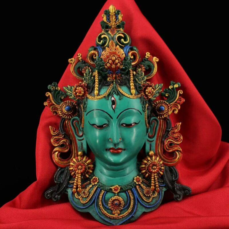 Collect Old Tibetan Buddhism lacquerware painted Green Tara Masks Wall Hang