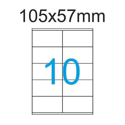 250 Etiketten 105x57 mm Luma Klebepapier 25 Blatt A4 105 x 57 mm 2x5