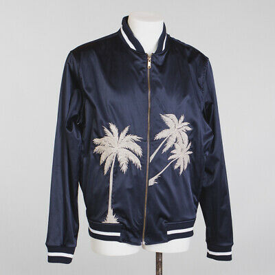 ZARA Man Baseball Jacket Size XL Navy Blue Relaxed Fit