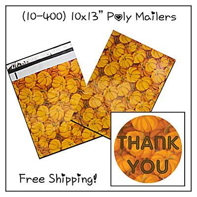 10-400 Pack - 10x13 Pumpkin Designer Poly Mailers Free Shipping