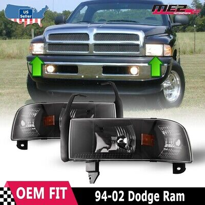Fits 94-02 Dodge Ram 1500 2500 3500 Headlights Signal Corner Lamps Black/Clear