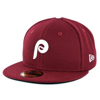 New Era 59Fifty Philadelphia Phillies ALT 2 Fitted Hat (Cardinal) Men's MLB Cap ()
