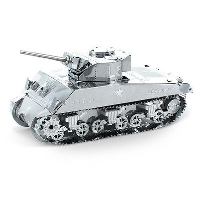Sherman Tank Panzer 3D-Metall-Bausatz Silver-Edition Metal Earth 1204