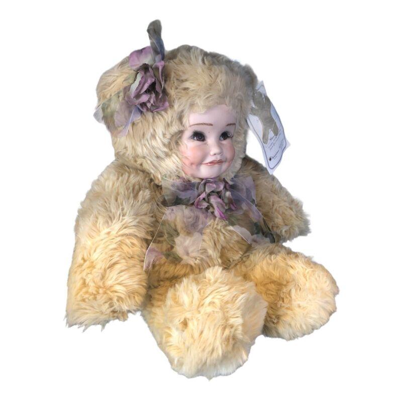 Vtg 1993 Sandra Williams Creations Porcelain Plush Bear Doll Anthropomorphic