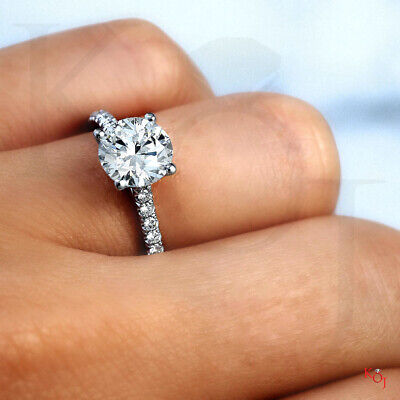 Classic 1.50 Ct. Round Cut Natural Diamond Engagement Ring F VS1 GIA 14k