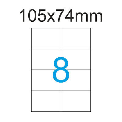 800 Luma Etiketten 105x74 mm Klebepapier Aufkleber 100 Blatt A4 105x74 Weiss