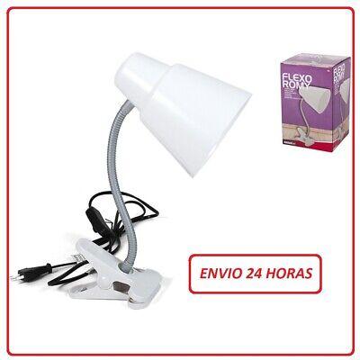 FLEXO CON CLIP LUZ LAMPARA DE MESA PINZA COLOR BLANCO ENVIO 24H