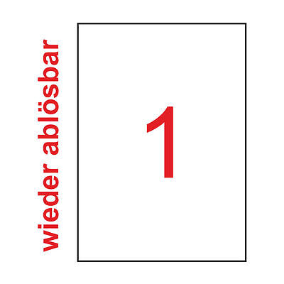 20 Blatt DIN A4 Premium Etiketten Wieder Ablösbar Weiß Non Permanent Tronic