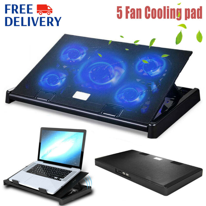 LED USB 5 Fans Cooling Cooler Pad Adjustable Stand Radiator FOR Laptop Notebook