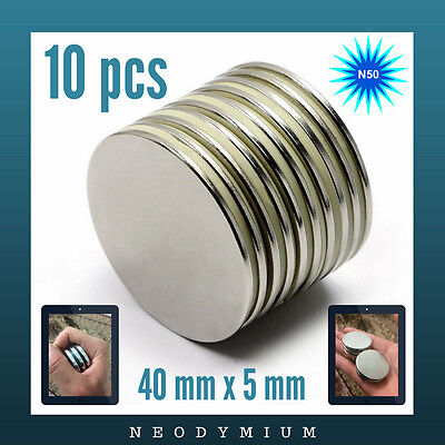 10 Pcs Neodymium Magnet Round Disc Magnets Dia 40mm X 5mm N50 Rare Earth Ndfeb