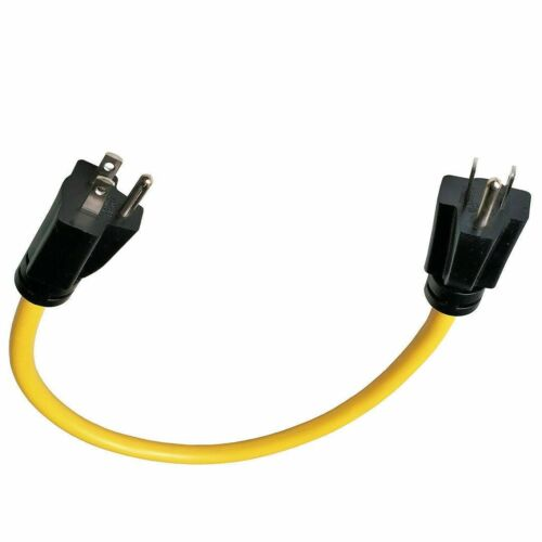 Generator Household 15 Amp  Adapter Cord 3 Prong Plug to Plug, 5-15P to 5-15P