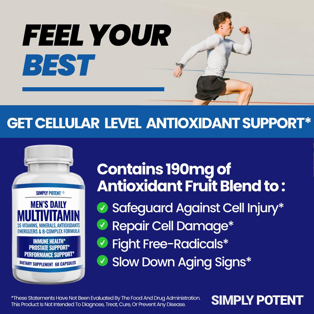 Men's Daily Multi vitamin A B C D E for Energy Focus Metabolism Immune Prostate  4