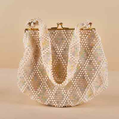 1950s Handbags, Purses, and Evening Bag Styles 1950s Vintage Pastel Beaded Handbag $15.00 AT vintagedancer.com