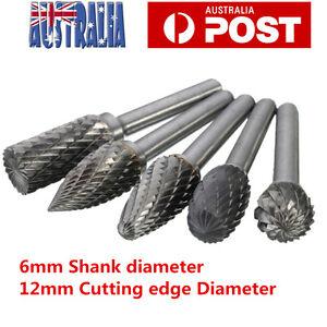 5PC 12mm Tungsten Carbide Rotary Drill Bit Point Burr Die Grinder 6mm Shank