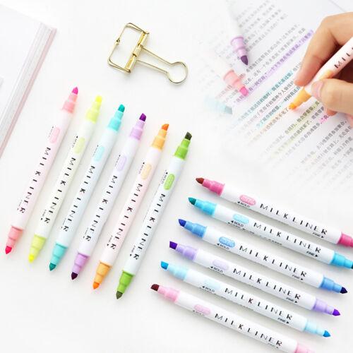 Headed Fluorescent Pen Art Highlighter Drawing 12Pcs Marker Pens Milk liner